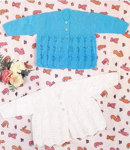 1416H baby matinee coat vintage knitting pattern  PDF Download
