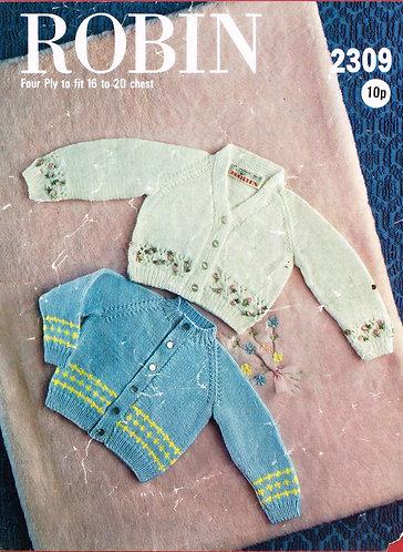 2309R baby cardigan vintage knitting pattern  PDF Download