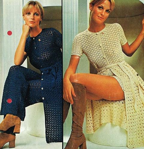 5126T ladies trouser suit vintage crochet pattern  PDF Download