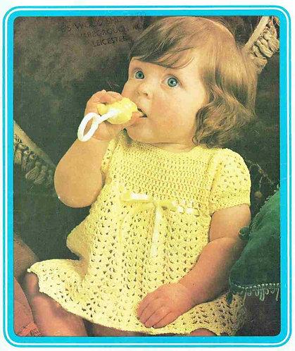 5114T baby dress vintage crochet pattern  PDF Download