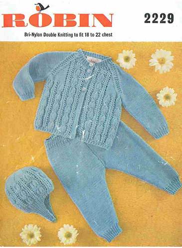 2229R baby pram suit vintage knitting pattern  PDF Download