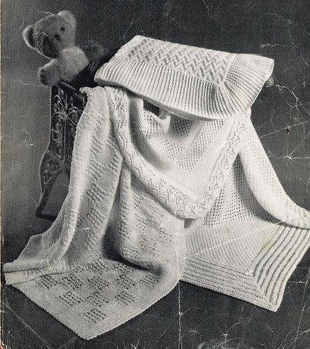 477H baby shawl vintage knitting pattern  PDF Download