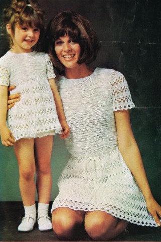 5108T mother daughter dress vintage crochet pattern  PDF Download