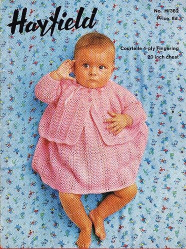 382H baby dress cardigan set vintage knitting pattern  PDF Download
