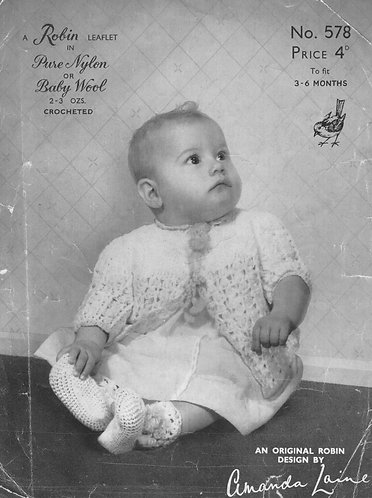 578R baby matinee coat vintage crochet pattern  PDF Download
