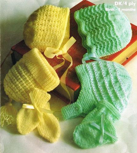 1964M baby hat sets vintage knitting pattern  PDF Download