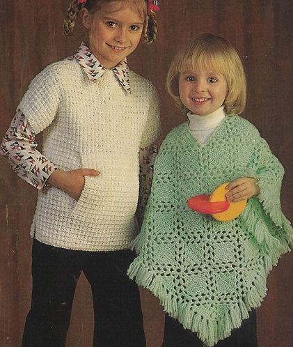 1249H girls poncho jumper Vintagecrochet & knitting pattern  PDF Download