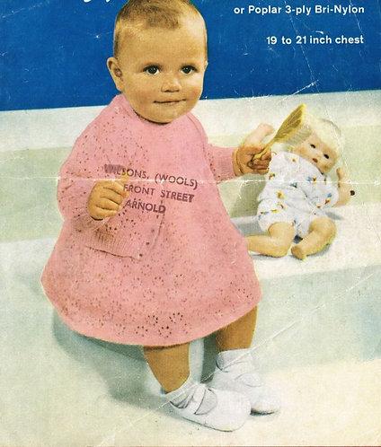 328H baby dress set vintage knitting pattern  PDF Download