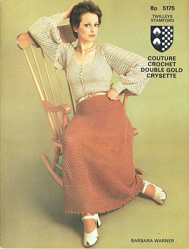 5175T ladies skirt and blouse set vintage crochet pattern  PDF Download