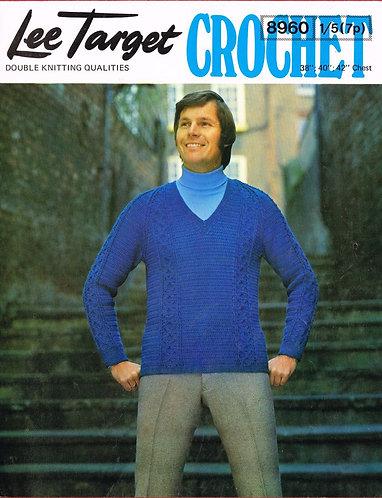 8960Lt mens jumper vintage crochet pattern  PDF Download