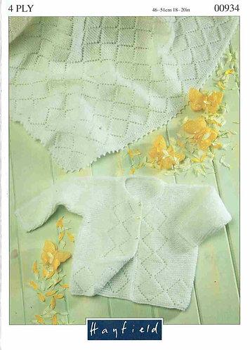 934H baby matinee coat and shawl vintage knitting pattern  PDF Download