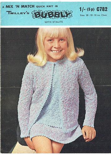 782T girls cardigan suit vintage knitting pattern  PDF Download