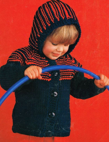 1493H baby cardigan hoodie Vintage knitting pattern  PDF Download