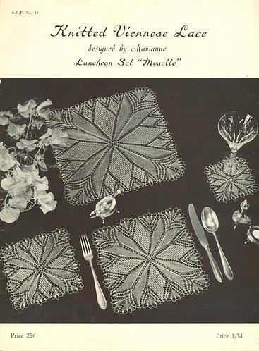 ANP19 viennese lace vintage knitting pattern PDF