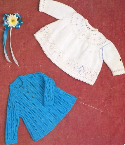 1499H baby matinee coat vintage knitting pattern  PDF Download