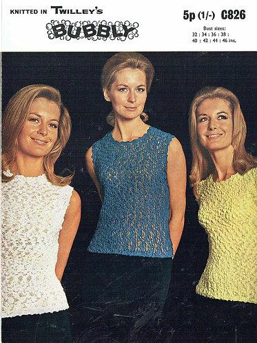 826T ladies summer tops vintage knitting pattern  PDF Download