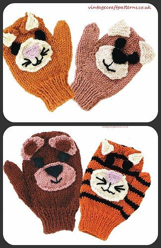 Animal mittens baby vintage knitting pattern PDF