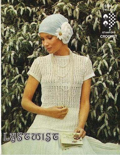 6104T ladies summer top vintage crochet pattern  PDF Download