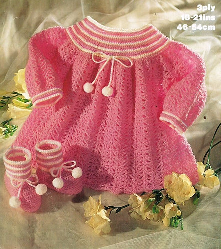 1700M baby dress vintage crochet pattern  PDF Download