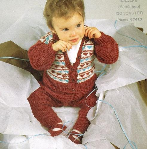 2273H baby trouser suit vintage knitting pattern  PDF Download