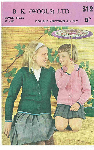 B K Wools 312 childrens vintage knitting pattern PDF