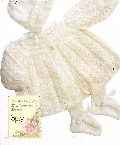 2106H baby matinee coat vintage knitting pattern PDF Download