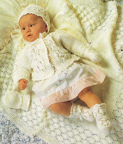 975H baby matinee coat shawl vintage knitting pattern  PDF Download
