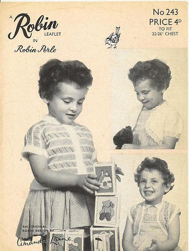 243R girls bolero cardigan vintage knitting pattern  PDF Download