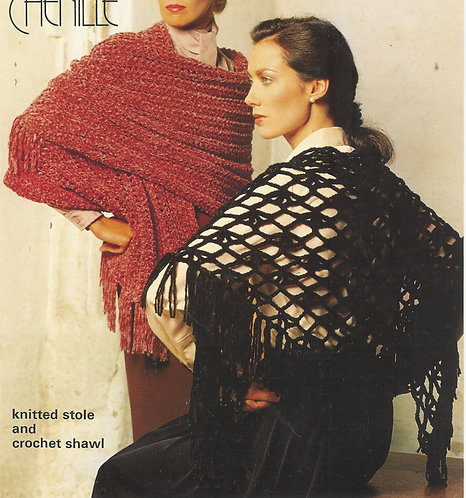 4847 ladies shawls Vintage crochet and knitting pattern  PDF Download