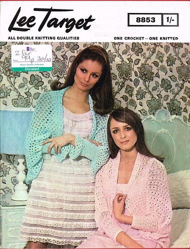 8853Lt ladies bedjacket vintage knitting and crochet  pattern  PDF Download