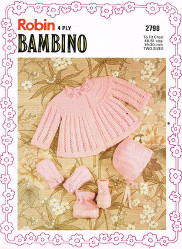 2798R baby matinee coat set vintage knitting pattern  PDF Download