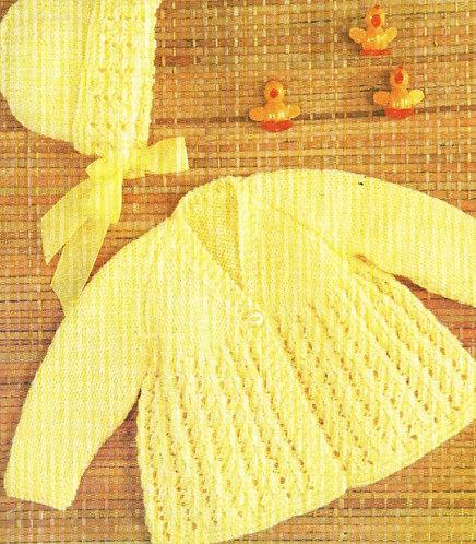 1489H baby matinee coat set vintage knitting pattern  PDF Download