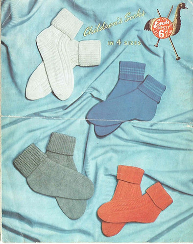 527E baby childrens sock vintage knitting pattern PDF Download
