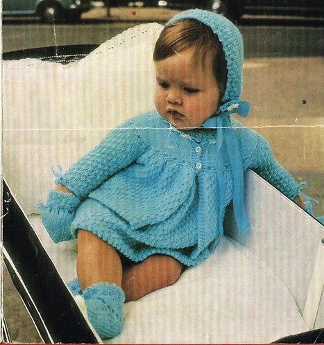 763H baby matinee coat dress vintage knitting pattern  PDF Download