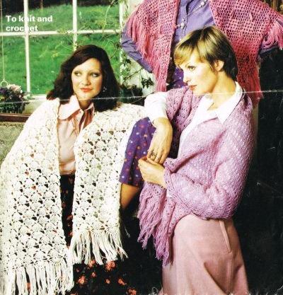 4420 ladies shawls Vintage knitting and crochet pattern  PDF Download