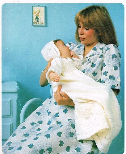 8702P baby christening dress vintage baby knitting pattern PDF