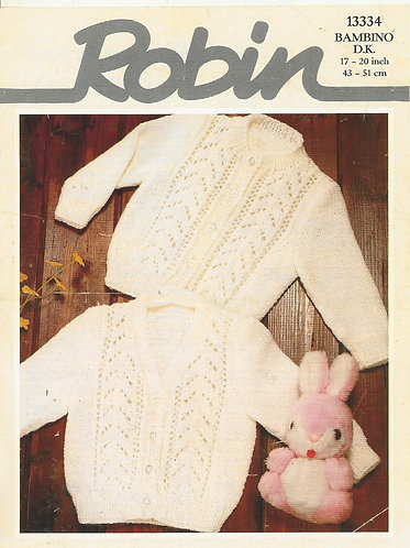 13334R baby cardigans vintage knitting pattern  PDF Download
