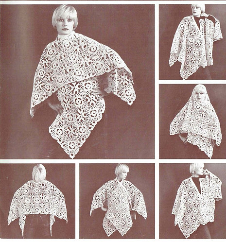1026T ladies wrap vintage crochet pattern  PDF Download