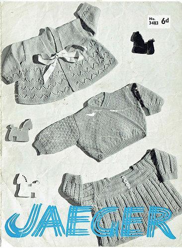 3483J baby matinee coats vintage knitting pattern PDF Download