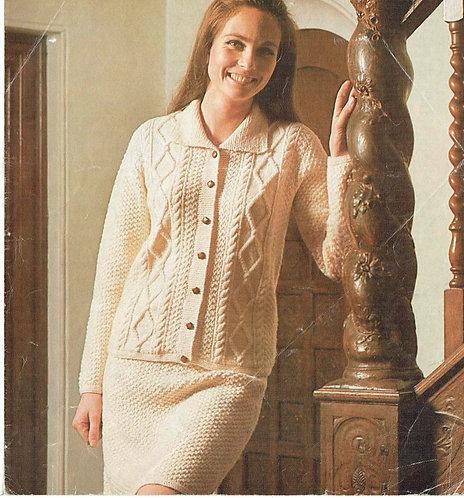 596H ladies cardigan skirt suit Vintage knitting pattern  PDF Download