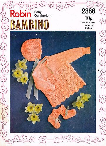 2366R baby matinee coat set vintage knitting pattern PDF Download
