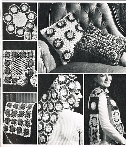 860T flower loom cushions vintage crochet pattern  PDF Download
