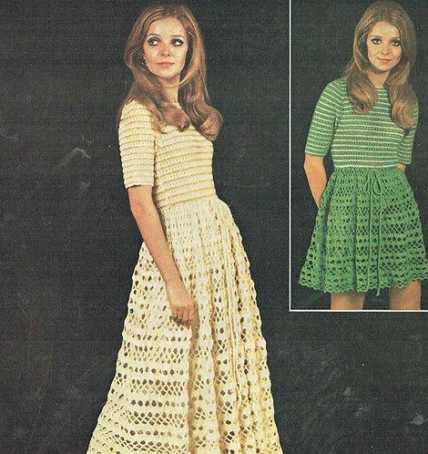 86T ladies dress vintage crochet pattern  PDF Download