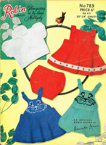 789R baby romper suits vintage knitting pattern  PDF Download