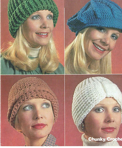 1688 ladies hats Vintage crochet pattern  PDF Download