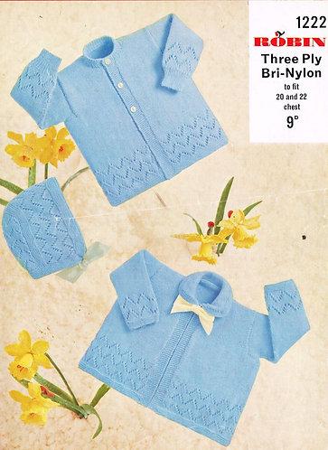 1222R baby matinee coat vintage knitting pattern  PDF Download