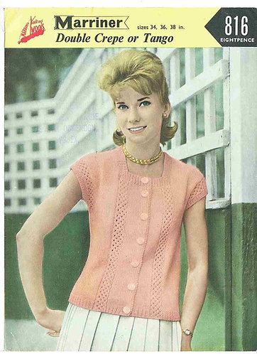 816 ladies summer top Vintage knitting pattern  PDF Download