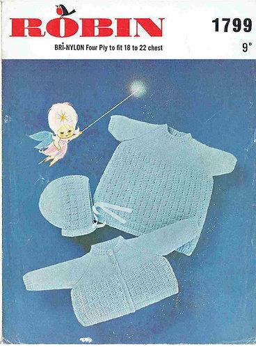 1799R baby matinee coat dress set vintage knitting pattern  PDF Download