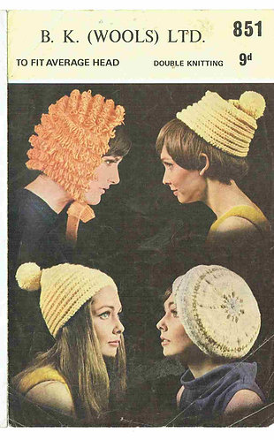 B K Wools 851 hats vintage knitting pattern PDF