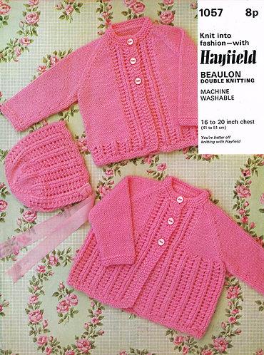 1057H baby matinee coats vintage knitting pattern  PDF Download